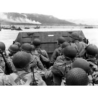 War WWII USA Troops Landing Omaha D-Day Photo Canvas Wall Art Print Poster