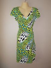 Womens Stretch Leopard Dress Surplice Neckline Body Con Material Ruffled Design