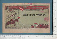 8227 Thoroughbred horse flat racing c 1910 novelty heat card paper toy race