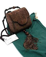 "RAFAEL SANCHEZ Chocolate Velvet Evening Bag w/Beaded Tassel+Strap- GREAT - 5""x5"""