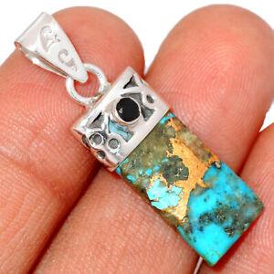 Rare Ithaca Peak Turquoise & Black Onyx 925 Silver Pendant Jewelry BP15215 295C
