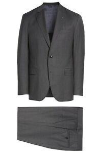 Ted Baker Endurance Konan Mens Two Button 2-Piece Wool Suit Stripe Grey Size 38R
