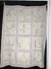 Crib Quilt Top Hand Embroidered 32�x41�