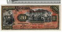 1913 March 24 - El Banco Minero Chihuahua, Mexico 20 Pesos - Mexican Banknote
