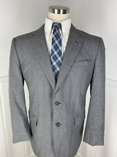Men's Jos A Bank 44 R Gray Glen Check 2 Button Wool Sport Coat Blazer