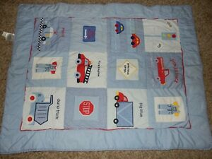 3A LAMBS & IVY Precious Cargo Trucks Cars Quilted Crib Comforter Quilt Blanket