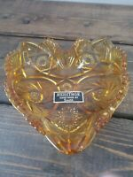 "Vintage LE Smith Heritage Nappy Amber Glass Heart Candy /Trinket Dish 6"" x 6.5"