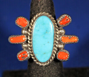 VINTAGE NAVAJO STERLING RING WITH TURQUOISE AND CORAL SIZE 6 - 1/2