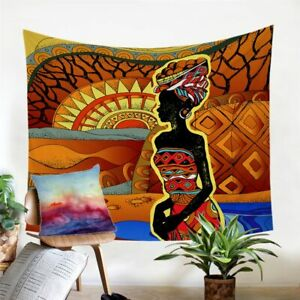 Geometric African Woman Wall Tapestry Hanging Throw Cover Home Room Decoration