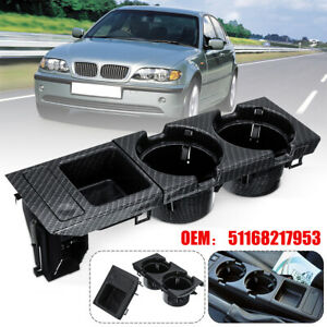 Carbon Fiber Front Center Console Box Cup Drink Coin Holder For BMW 3 Series E46