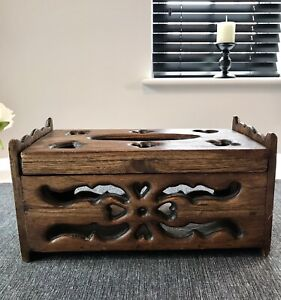 Handmade Hand Carved Wooden Storage Box