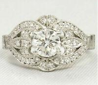 diamond 2.5ct round dvvs1 ring antique vintage style wedding 14k white gold over