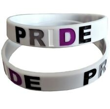 12mm Debossed Pride Silicon Rubber Wristband - Asexual Pride Flag Colours