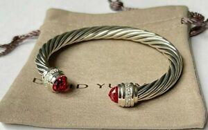 David Yurman 7mm classic 925 Silver Bracelet Pink Tourmaline & Diamond