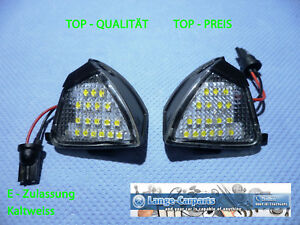 Top LED SMD Set Courtesy Lights Very Bright Cold White VW Skoda Exterior Mirror
