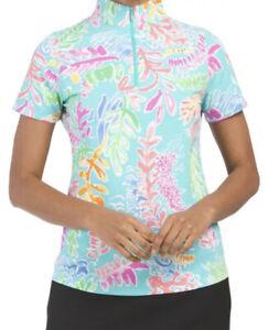 IBKUL Sweat LESS Nessa Seafoam Turquoise Zip Mock Neck Short Sleeve Top UPF 50 M