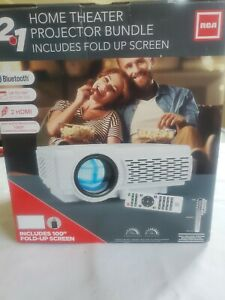 RCA RPJ200-Combo Home Theater Projector Bundle includes fold up screen.