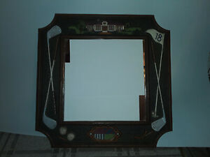 Wall Mirror Home Decor, Golf, Golf ball, Great color, Wood color Trim, crest.