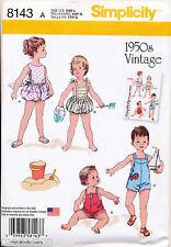 SIMPLICITY SEWING PATTERN 8143 BABIES SZ XXS-L RETRO VINTAGE 1950s PLAYSUITS