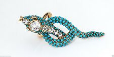 Kenneth Jay Lane Turquoise long tail snake with clear stones ring
