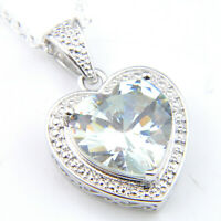 925 Sterling Vintage Silver Natural White Fire Topaz Gemstone Necklace Pendants