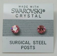 6mm Small Pink Crystal Circle Stud Earrings Made With SWAROVSKI ELEMENTS