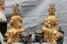 """19"""" Tibet Bronze Gilt Manjusri Samantabhadra Bodhisattva Kwan-Yin Statue Pair"""