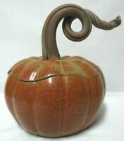 Pumpkin Jar Handmade Pottery Stoneware John Bauman SIGNED glazed Collectible