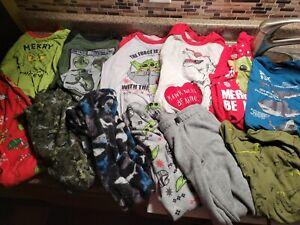 Lot 12 Pieces Boys Clothes Size 8 Long Sleeve Shirts Pajamas Fleece Pants Yoda h