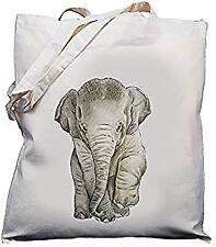 Bebé Elefante Diseño Natural (Crema) Algodón Bolso Shopper Hombro Bolsa//