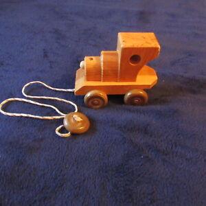Medium Size Vintage Child's Wooden Pull Toy Train Engine Locomotive Wood finish