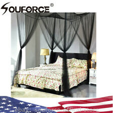 Queen King Size 4 Corner Square Post Bed Mosquito Net Bar Curtain Netting Canopy