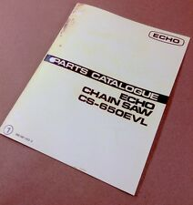 ECHO CHAINSAW CS-650EVL PARTS CATALOG MANUAL CHAIN SAW ILLUSTRATIONS LISTS