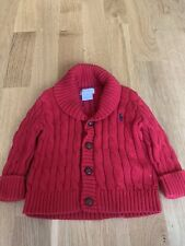 RED CABLE KNIT CARDIGAN BABY RALPH LAUREN 9M DESIGNER WINTER WARM BRIGHT CUTE