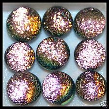 Lot of 6 SPARKLE PEACHY Fused Glass DICHROIC Cabochons XS Beads