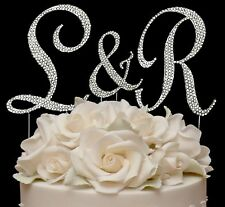 3 Full Rhinestone Crystal Covered Wedding Monogram Cake Topper Top Letters