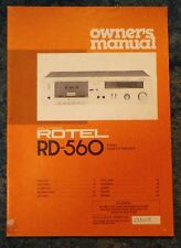 Rotel RD-560 Stereo Cassette Tape Deck Owners Manual Vintage Retro