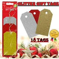 18 x CHRISTMAS GLITTER GIFT TAGS Xmas Tag Red Gold Silver Present Wrapping UK