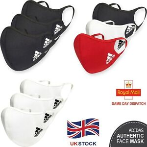 Adidas Face Mask Reusable Washable Masks UK Mouth Nose Breathable Cover 3 Pack