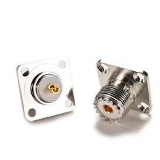Silver Connector SO239 UHF female  jack 4-hole 25mm flange solder panel mount FB
