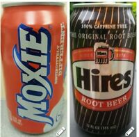 LOT OF 2 CANS - MOXIE 12 oz. EMPTY CAN SODA AND HIRES ROOT BEER 12 oz.