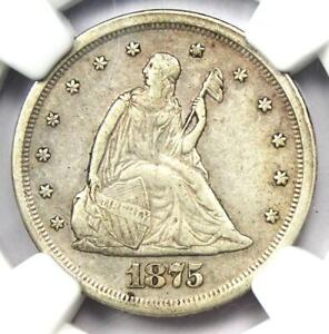 1875-S Twenty Cent Coin 20C - Certified NGC AU Detail - Rare Type Coin!
