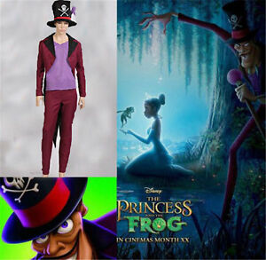 NEW The Princess and the Frog Dr. Facilier Cosplay Costume and hat :