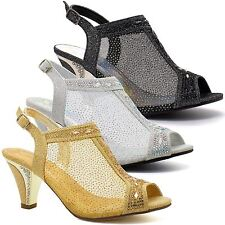 Womens Ladies Diamante Mid Heel Glitter Evening Shoes Wedding Party Prom Sandals