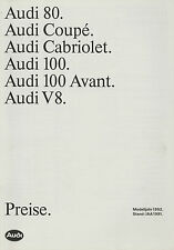Preisliste Audi 7/91 IAA 1991 Preise Personenwagen 80 Coupé Cabriolet 100 Avant