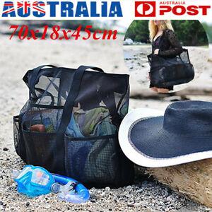 Women Mesh Beach Tote Shoulder Handbag Holiday Travel School Toiletry Net Bag AU