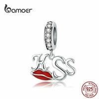 BAMOER Women European CZ Charm S925 Sterling Silver Kiss Fit Bracelets Jewelry