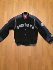 DALLAS COWBOYS SPORTS  NAVY SUEDE LEATHER  VARSITY FULL ZIP JACKET SIZE M