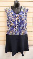 DRESS BLUE SIZE 12 PRINT DROPPED WAIST STYLE KNEEE LENGTH BNWT