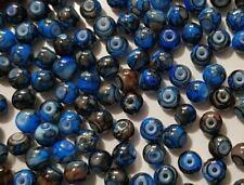15 perles semi-précieuses gemmes AGATES DRAGON BLEU NUIT ET MARRON 6mm //5